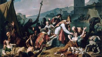 Attitude catholique en temps d'épidémie : Le Dévouement de Mgr de Blesunce durant la peste de Marseille en 1720, de Nicolas André Monsiau (1818)